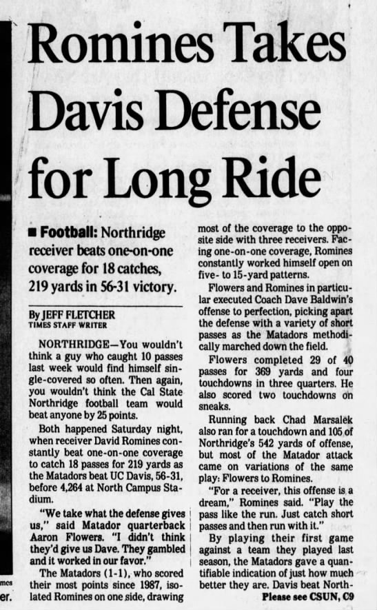 CSUN 19960915 Romines Takes Davis Defense for Long Ride -