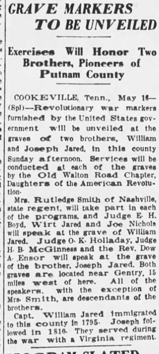 Capt. William Jared - grave marker - Putnam Co., TN -