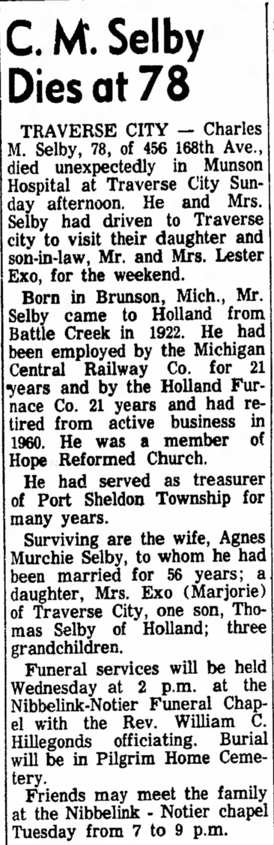 Charles M Selby, Monday 28 Oct 1963 pg 2 -