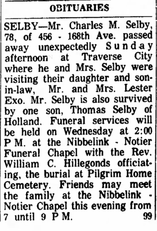 Charles M Selby 29 Oct 1963 Wed pg 12 -