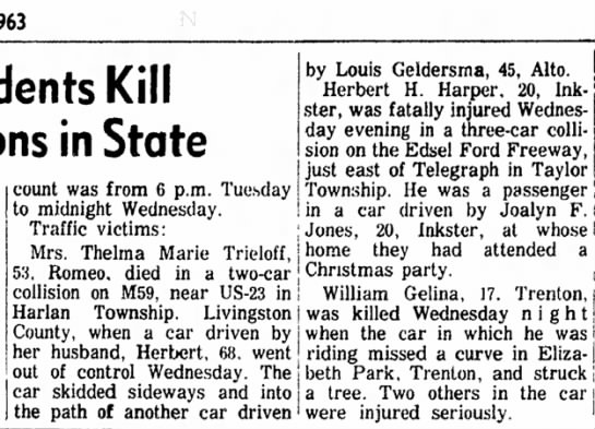Trieloff, Thelam Marie and Herbert accident,- Michigan