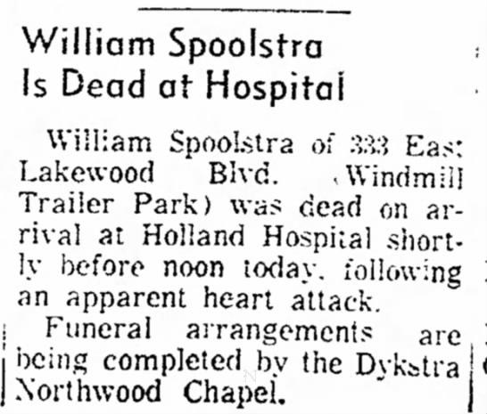 Spoolstra, William  19721218 Article Michigan Holland; Dead -