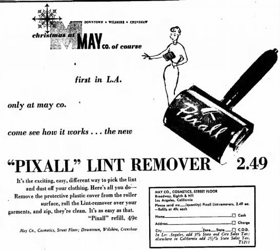 Pixall lint remover—first reference to a lint remover I can find -