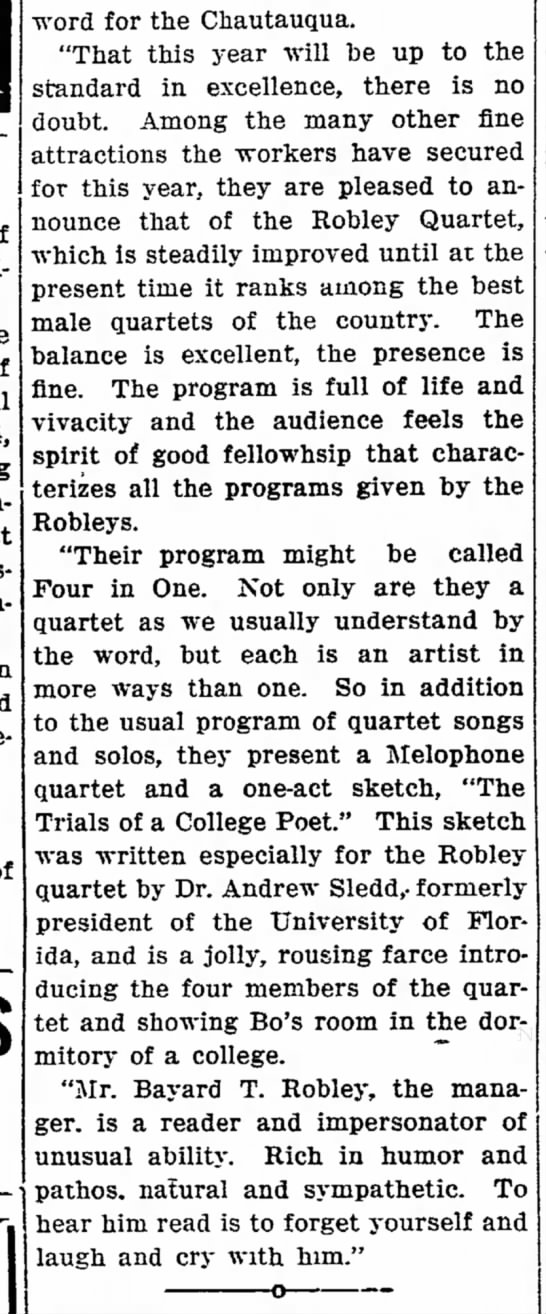 Bayard Robley-the Robley Quartet-p.8-13 June 1913-Oxnard Courier-California -