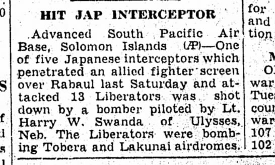 Harry W Swanda - HIT JAP INTERCEPTOR .Advanced South Pacific A}r...