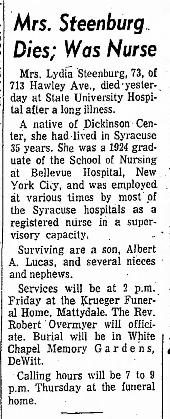 Lydia Steenburg Obit The Post Standard Dec 1 1966 -