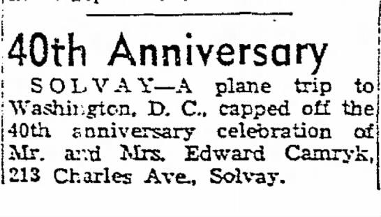 1955, July 17 40th Anniversary Mary & Edward Camryk -