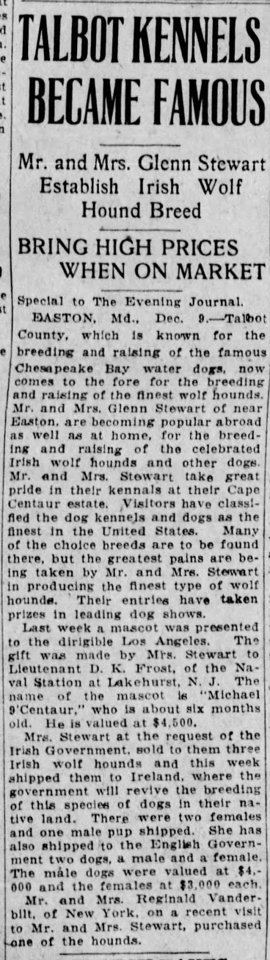 Stewart, cape centaur dogs EJ Dec  9 1925 - Newspapers com