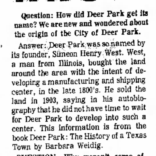 Deer Park named by its founder Simeon Henry West -
