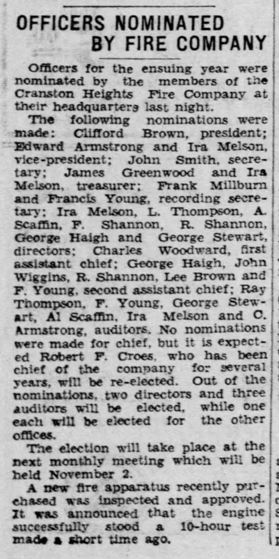 CHFCo. Nominations for Office in 1932 (6Oct1931) Morning News -