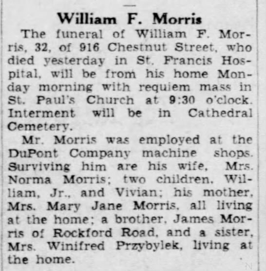 Morris, WIlliam F Obituary - 27 March 1942 - The Morning News - Wilmington, Delaware -