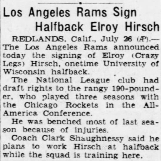 Los Angeles Rams Sign Halfback Elroy Hirsch -