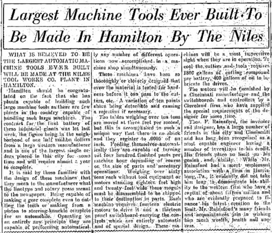 Largest Machine Tool Ever Built In Hamilton By The The Niles Tool Works -