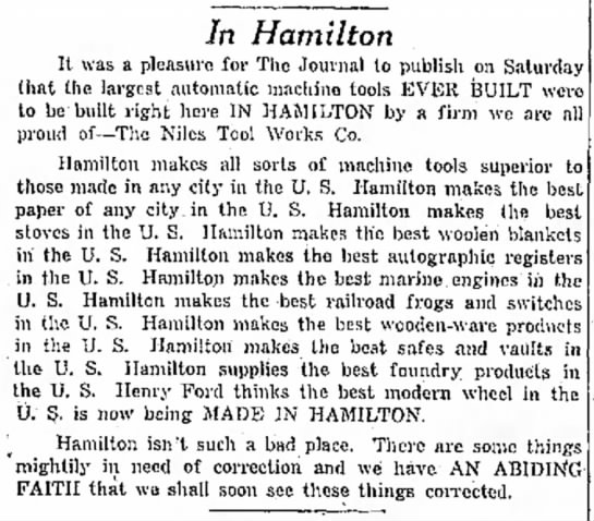 - In Hamilton It was a pleasure for The Journal...