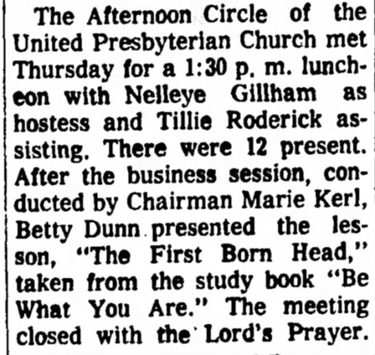 Kerl, Marie Church 23 Mar 1964 Beatrice Daily Sun - The Afternoon Circle of the United Presbyterian...