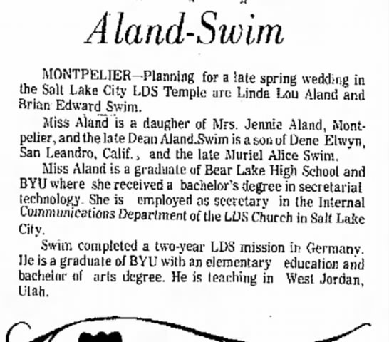Idaho State Journal: 25 April 1976 - and Kris * * * Aland-Swim MONTPELIER-Planning...