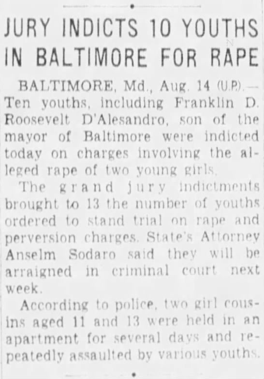 Rape case in Baltimore 1953 -