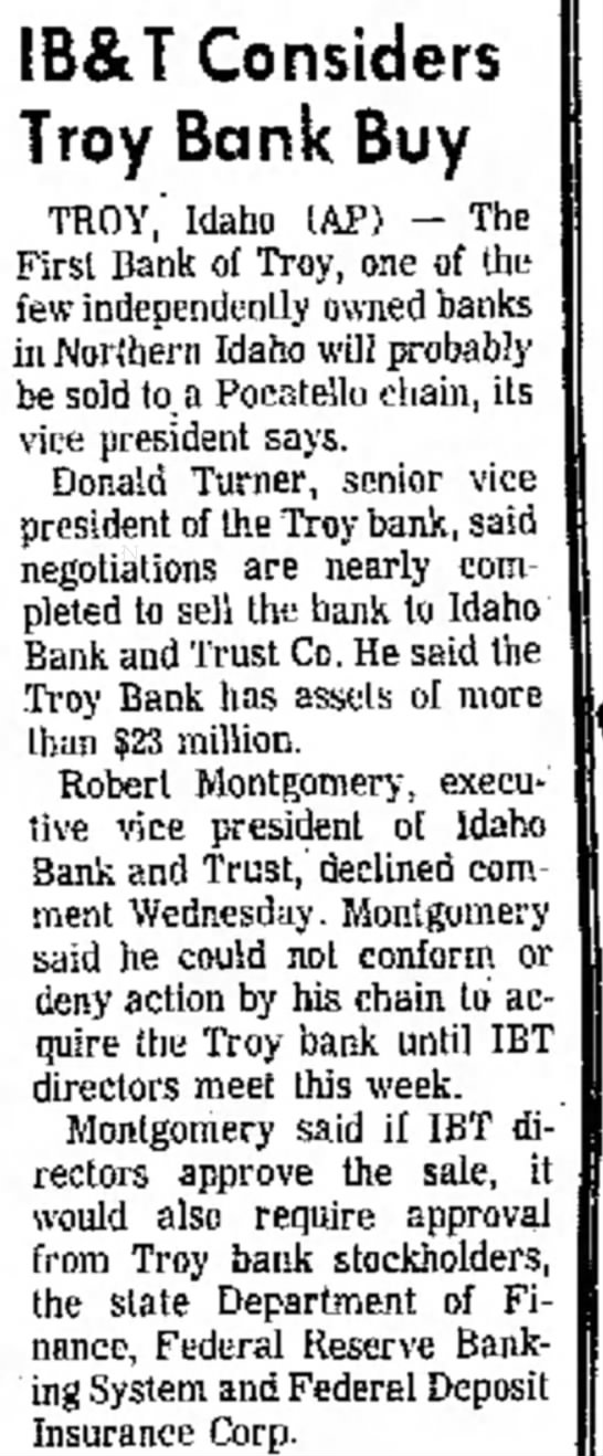 Story about First Bank of Troy -