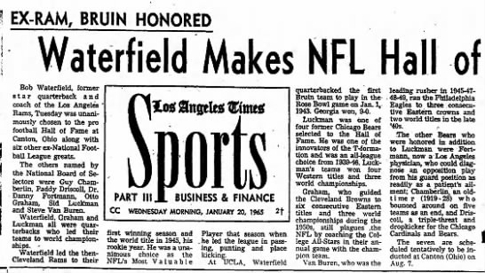 Waterfield Makes NFL Hall of Fame -