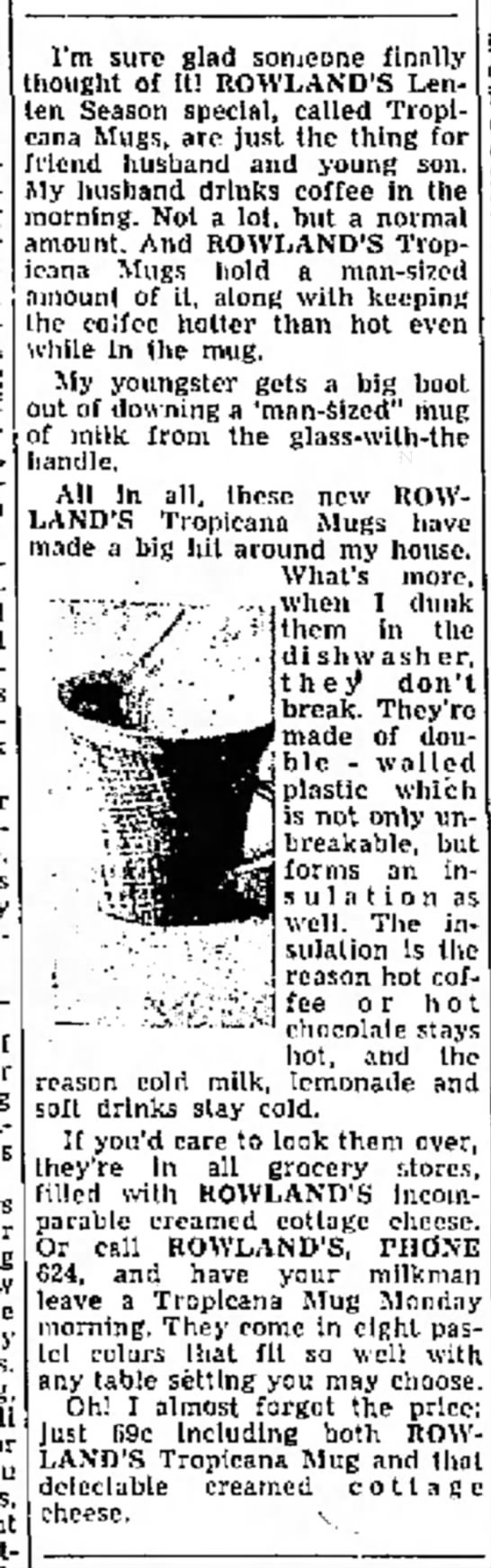 Tropican mugs Rowlands 9 March 1958 -