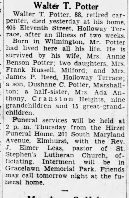 Walter Potter obit Feb 1953 -