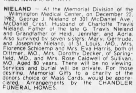 Nieland, George - obit - provides maiden name of Florence Schloemp (Bruno's wife) -