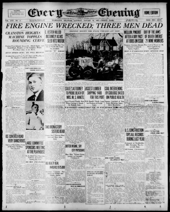 CHFCo. 3-LODD (16Jan1926) News Journal-Every Evening (Front Page) -