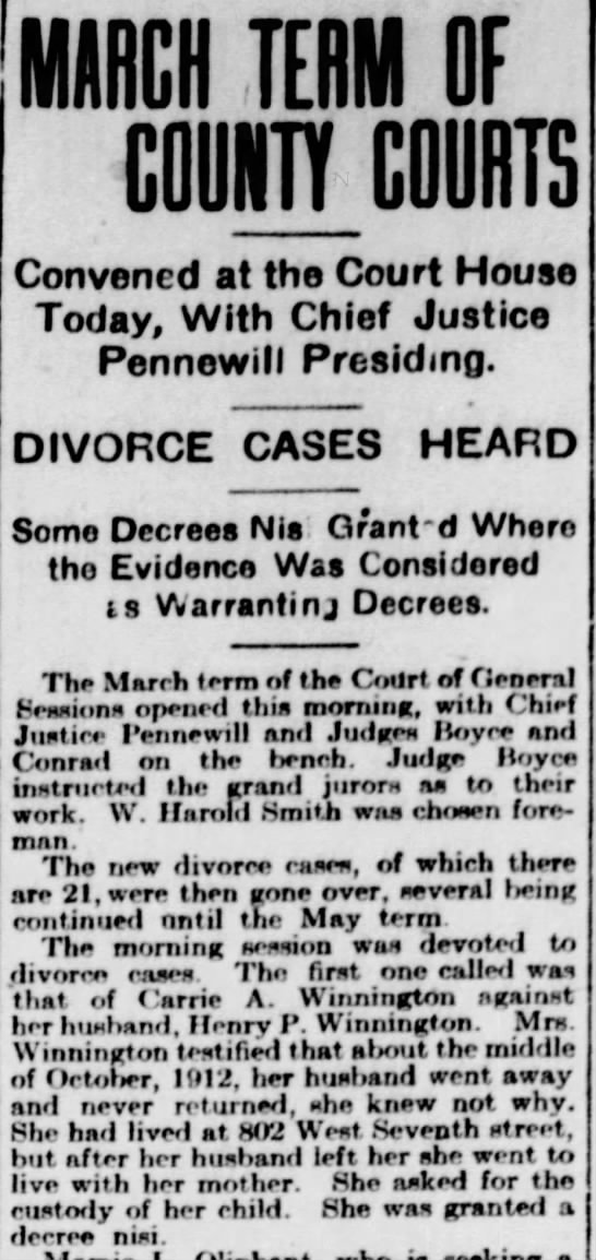 Carrie Winnington Divorce from Harry 1 Mar 1915 News Journal -