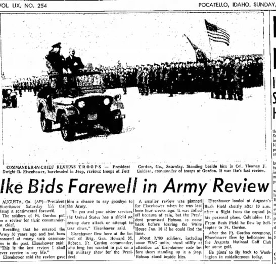 Ike Bid Farewell in Army Review -
