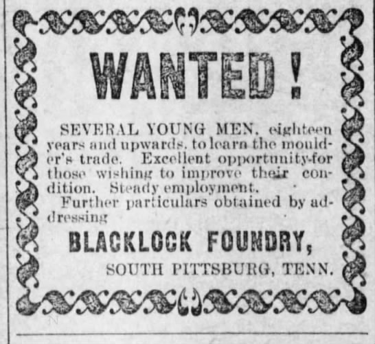 Blacklock for hire ad. This was during strike. -