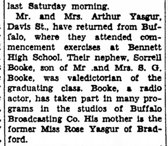 Sorrell Booke's Aunt returns from Bflo and his graduation from Bennett.  Mother was Rose Yasgur -