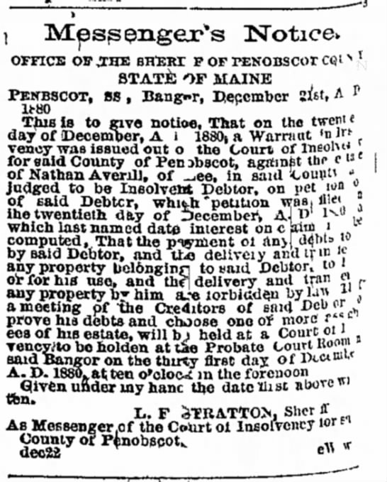 Nathan Averill, estate of, insolvent, 1881. - ' and show should not 1 PENBSC' ]80 This 3VTpss...