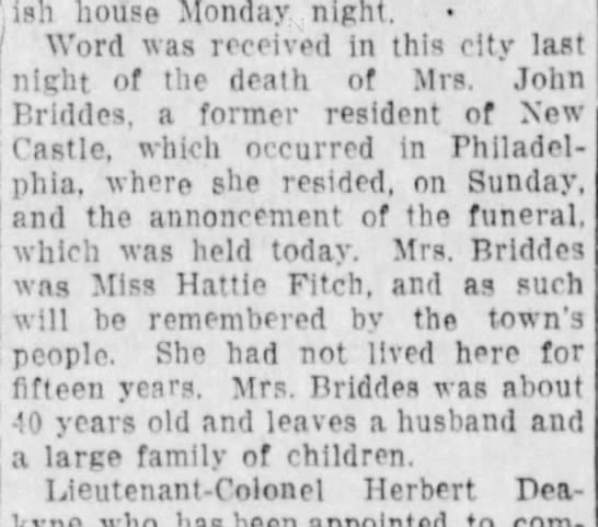 "Harriet ""Hattie"" Fitch Briddes death announcement -"