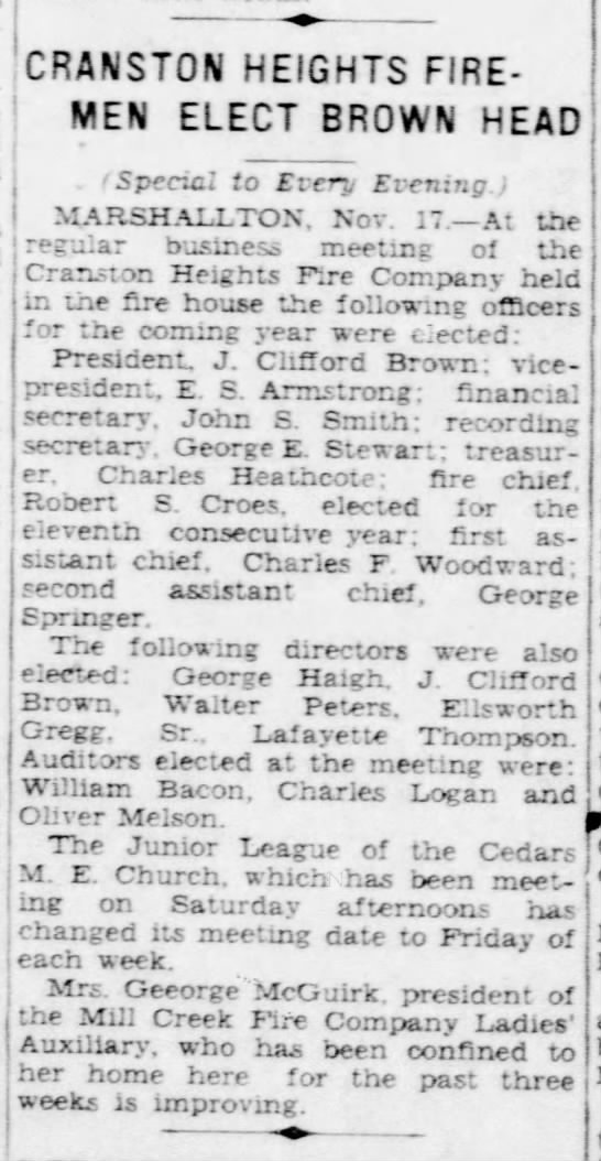 CHFCo. Officers for 1931 (17Nov1930) News Journal -