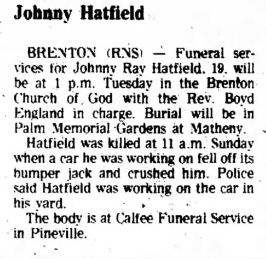 Johnny Hatfield April 12, 1977 -