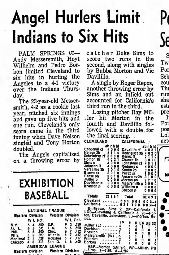March 20 1969 Angels vs Indians Palm Springs -