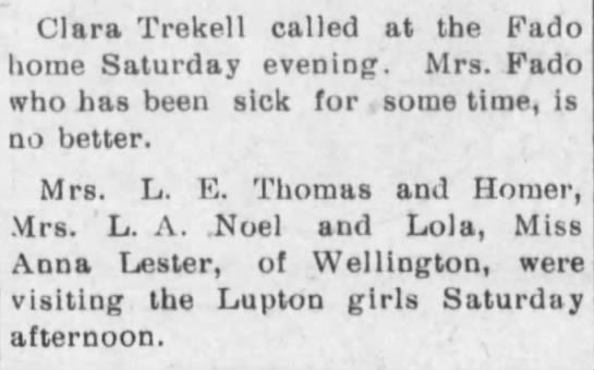 Clara Trekell, L.E. Thomas and (son) Homer -