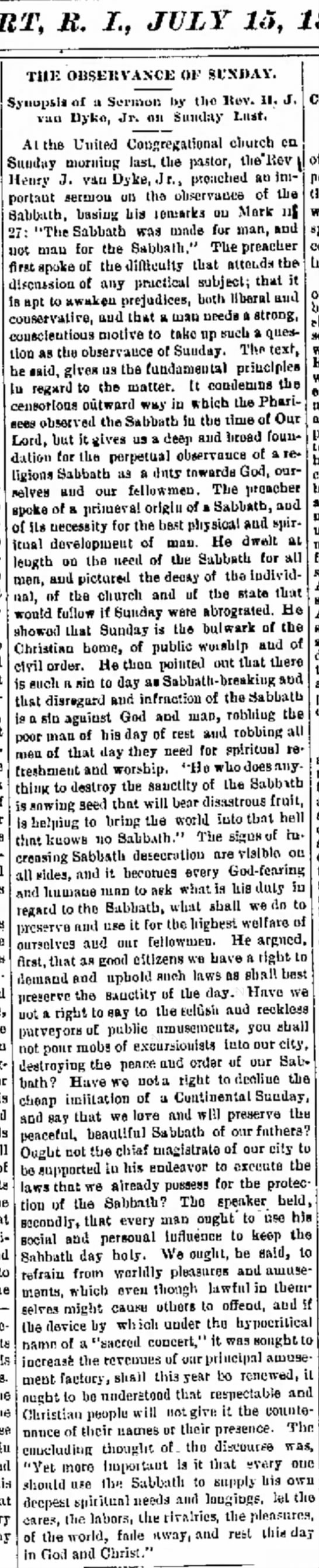 7-15-1882 Newport RI pastor tirade-vile excursionists -