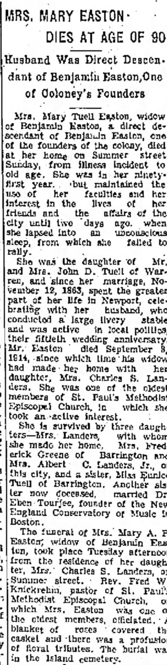 Mary Easton dies Newp merc 6-22-34 -
