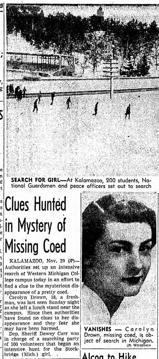 Clues Hunted in Mystery of Missing Coed -