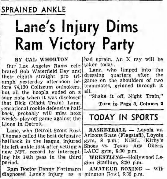 Lane's Injury Dims Ram Victory Pary -