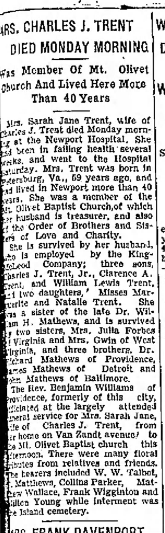 Rev. Benjamin Williams- Newport Mercury ( Newport, Rhode Island) 19 July 1935  -