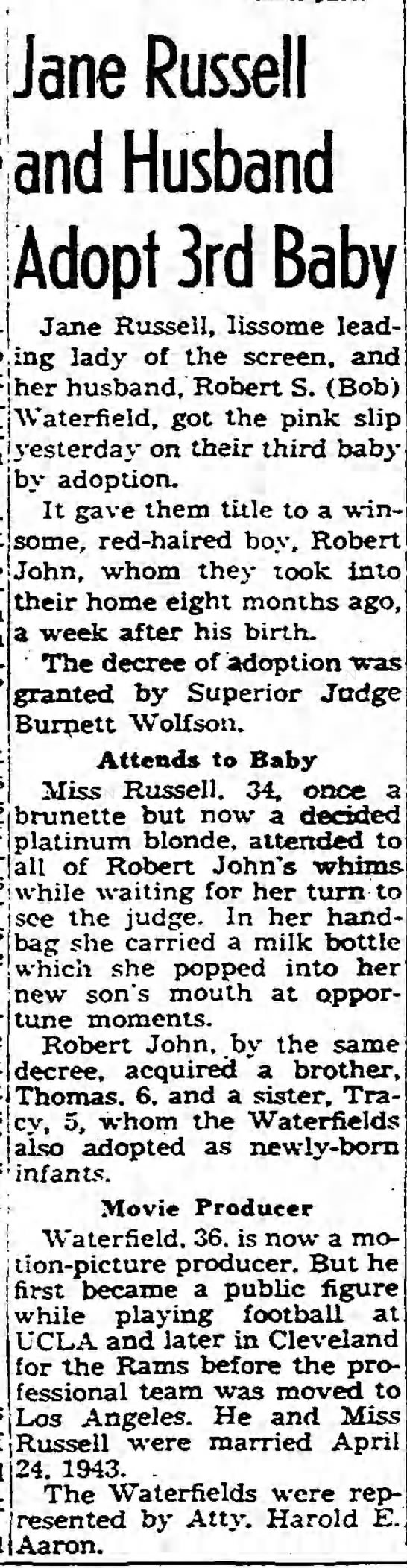 Jane Russell and Husband Adopt 3rd Baby -
