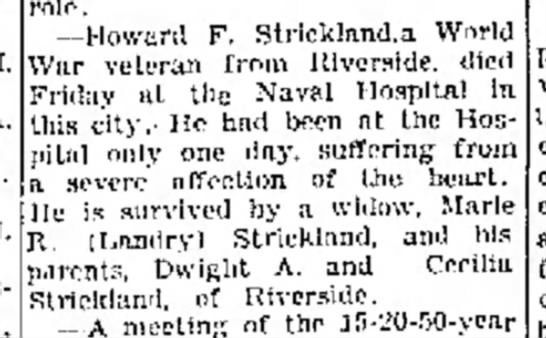 Howard Strickland - my grandfather's brother. -