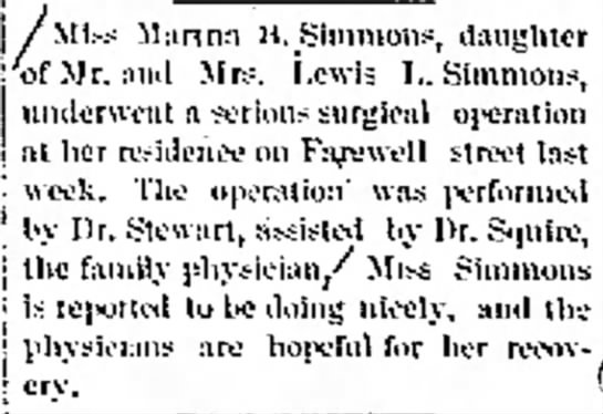 Serious surgery performed at home in 1900. -