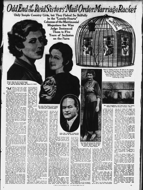 """""""Odd End of the Reid Sisters' Mail-Order Marriage Racket"""" 1938 -"""