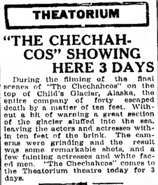 "- THEATORIUM j ""THE CHECHAH- COS"" SHOWING HERE 3..."
