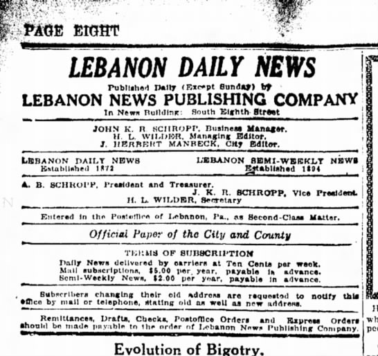 Newspaper information