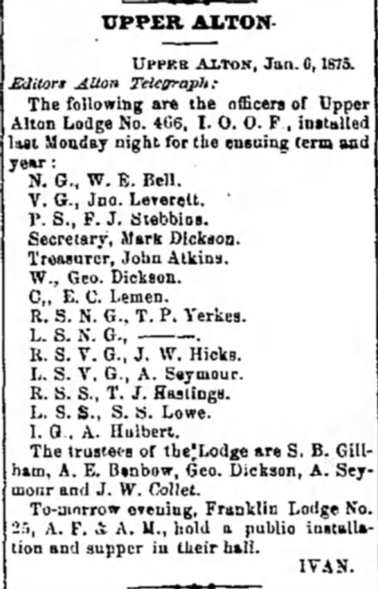 W. E. Bell - Upper Alton Lodge No. 466 -