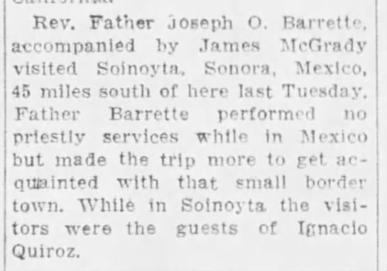 Barrette visits Sonoyta Star 7Jul1929 -